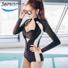 цена на Jersqons Zipper Rash Guard 2019 Women One Piece Swimsuit Push Up Swimwear Long Sleeves Swim Suit Black Surfing Bath Suit