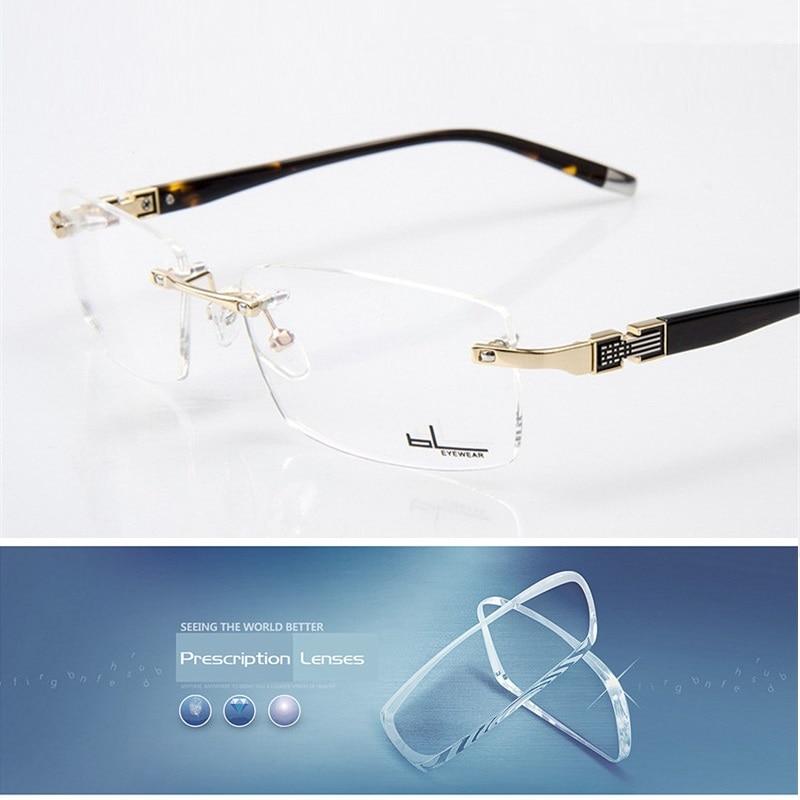 Vazrobe Rimless Gold Glasses Men Clear Male Prescription Spectacles Custom-make Myopia Diopter Minus 1.61 1.67 Index Lenses Tint