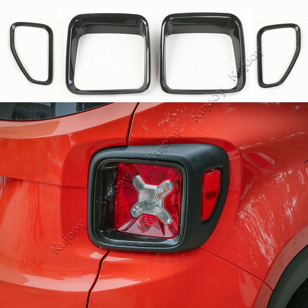 For Jeep Renegade 2015-2017 4pcs Chrome ABS Rear Tail Light Lamp Cover Trim