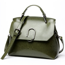 Ms Europe and America wax leather bag shoulder diagonal package New Ms. King oil clip leather shoulder bag diagonal