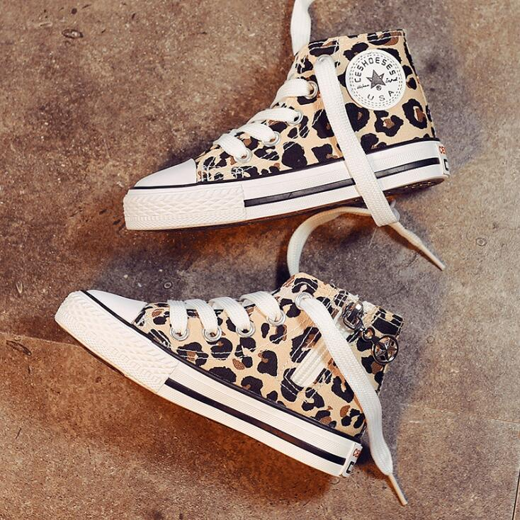 Leopard Print Children Casual Shoes Unisex Classic High Top Girls Canvas Shoes Student Lace up Sneakers for Boys Toddler Shoes