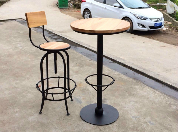 Wrought Iron Wood Tables Rotating Chair Lift Bar Assembly
