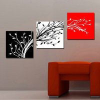 3 Panel Printed Abstract Still Life Black White Red Tree Oil Painting Cuadros Home Decor Canvas Art Unframed
