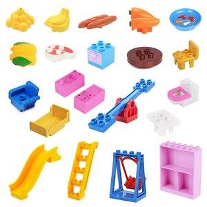 Scenes Furniture Model Big Building Blocks Slide Swing Assembly Accessories Table Children Toys Compatible Duplos Farm Bricks(China)