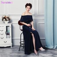 Assistir! novo Design Fora Do Ombro Strapless Lace Vestidos de Noite Longo Até O Chão Azul Marinho Vestido de Noite