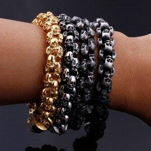 Image 4 - KALEN Punk Skull Bracelets Men Stainless Steel Shiny Matte Skull Charm Link Chain Brecelets Male Gothic Jewelry 2020
