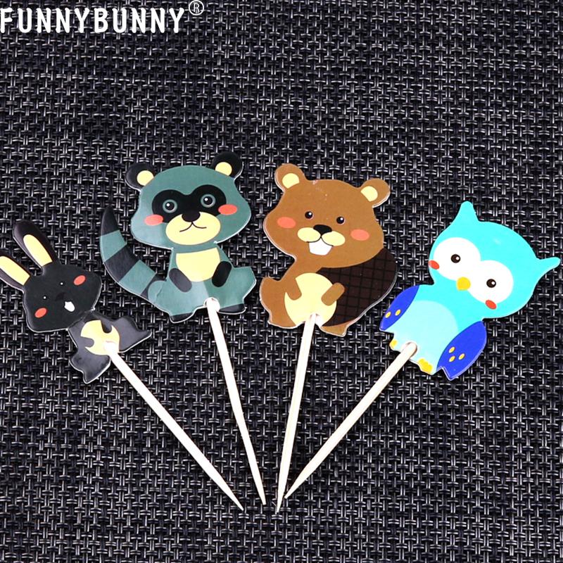 FUNNYBUNNY cute woodland animals Dessert Muffin Cupcake Toppers for Picnic Wedding Baby Shower Birthday in Cake Decorating Supplies from Home Garden