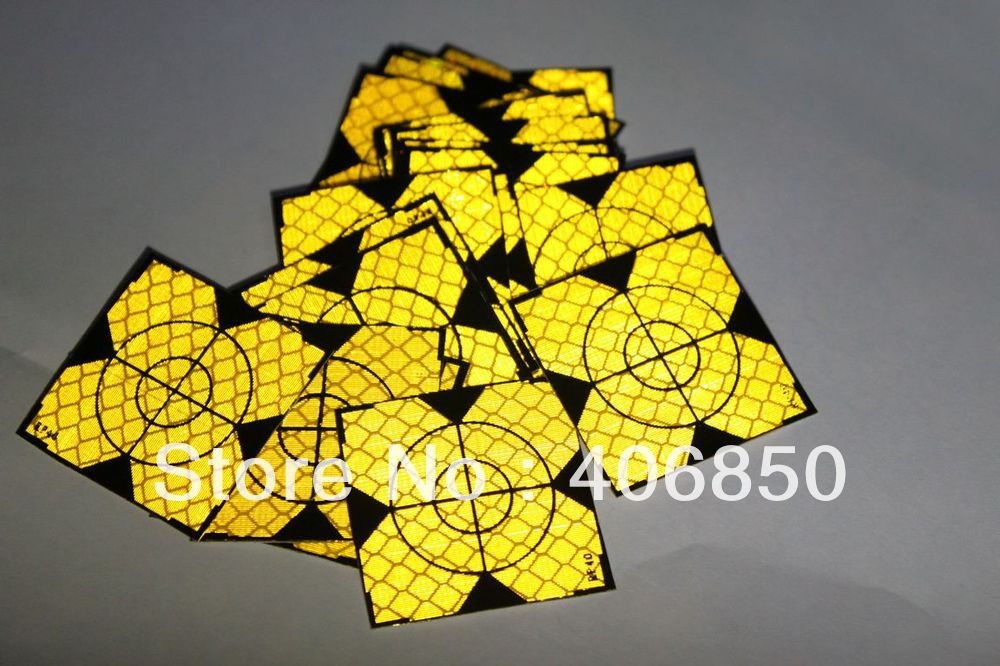 60pcs Yellow Reflector Sheet 40 x 40 mm Reflective Tape Target for Total Station ...