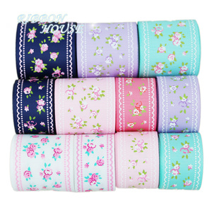 Image 3 - (6 Ribbon Mix) grosgrain ribbon printed lovely floral lace fabric satin ribbons (9/22/25mm)