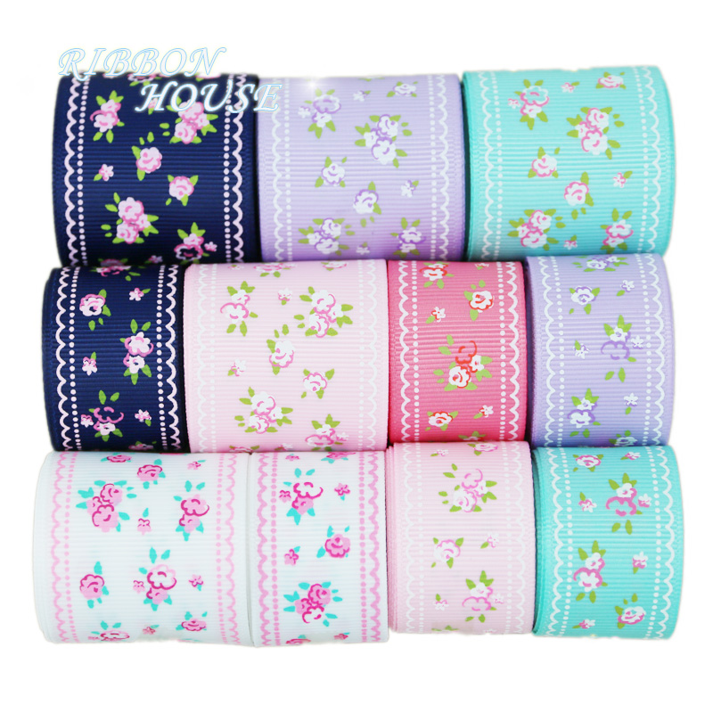 Image 3 - (6 Ribbon Mix) grosgrain ribbon printed lovely floral lace satin ribbons (9/22/25mm)-in Ribbons from Home & Garden