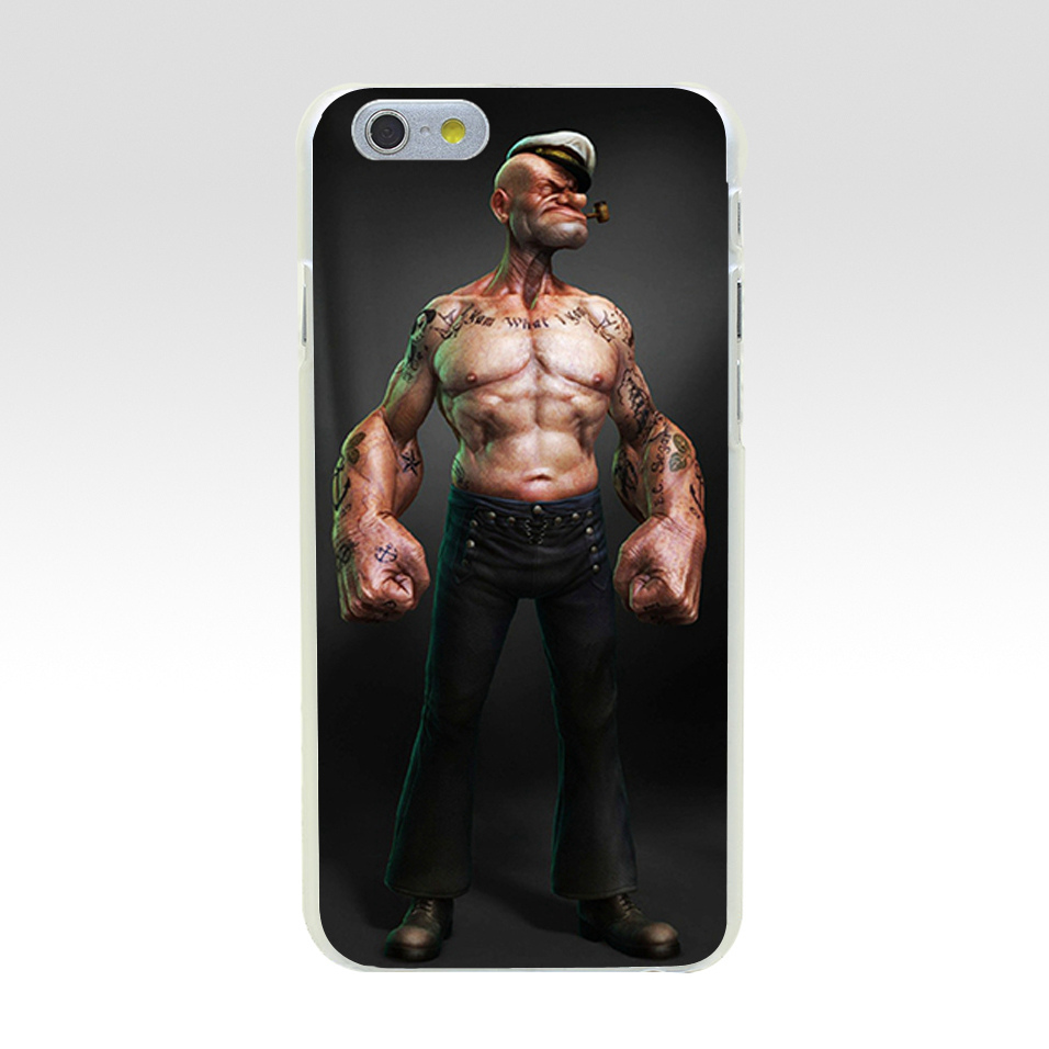 Minason For iPhone 8 8Plus Phone Case Popeye Cartoon Back Cover Hard PC Cases Coque For iPhone X 7 6 6S Plus 5 5S SE 5C