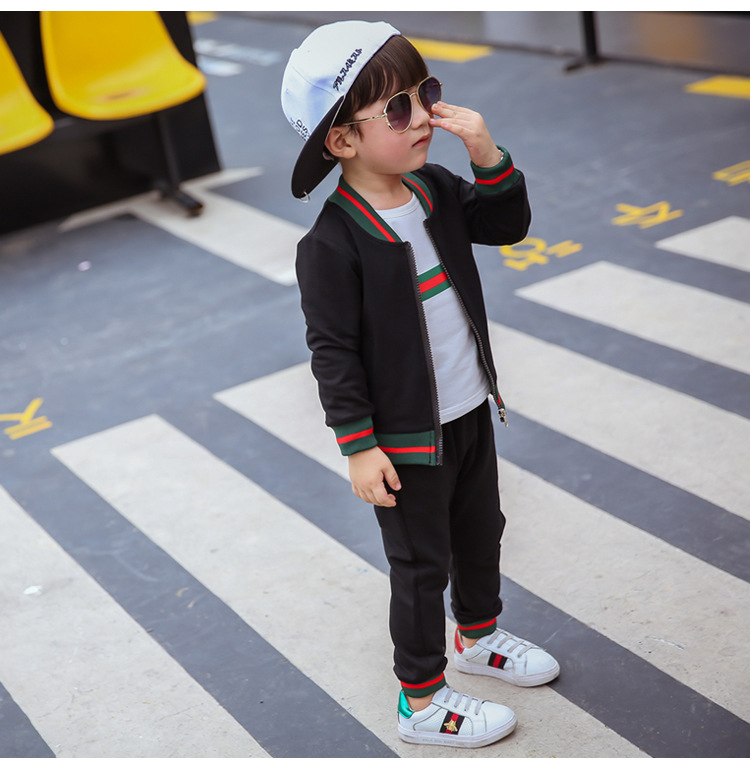 3 PCS New Fashion Autumn Kids Boys Clothes Sportswear Long Sleeve Kids Clothing Casual Children Outfit Sets baby boys clothes toddler kid long sleeve dinosaur hooded sweatshirt top long pant sportswear outfit 2pcs kids clothing sets