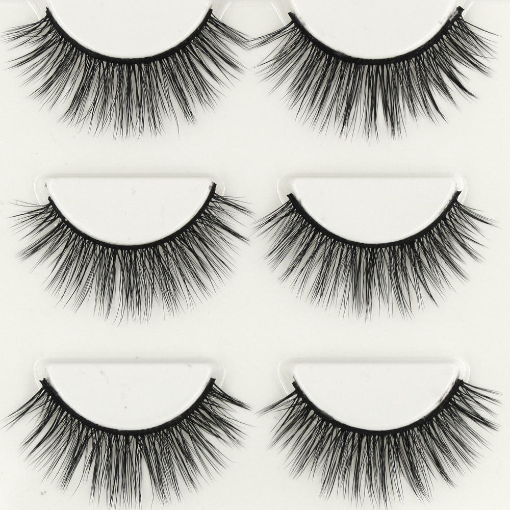YOKPN Glam Volume Fake Eyelash Beauty Makeup Eye Lashes 3D Crisscross Soft Fibers False Eyelashes Lashes Natural 1 box 3 pairs