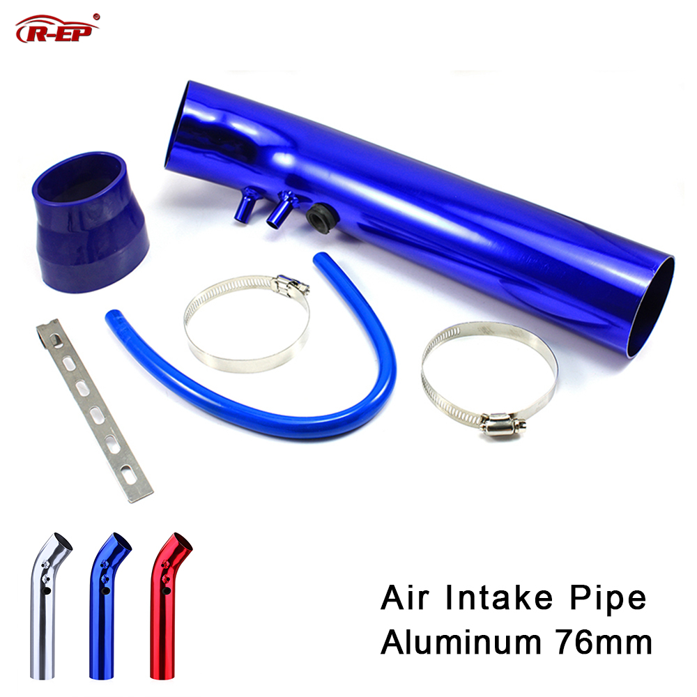 R-EP Universal 76mm de aluminio de admisión de aire para tubo de aire frío de entrada de 3 pulgadas conducto Kit de tubería con 63mm a 76 manguera goma mm conectar filtro