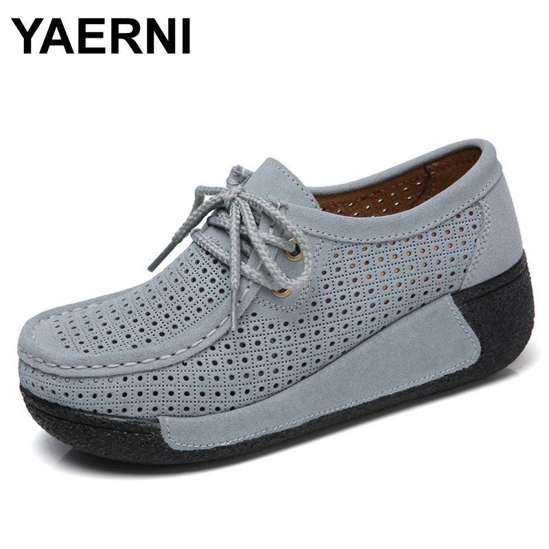 YAERNI Women Split   Leather   Shoes Woman Lace-up zapatos mujer   Suede     Leather   Lady Moccasins Spring Woman Loafers Shoes 9802