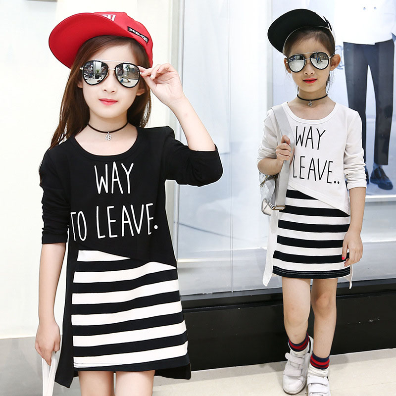 long t shirts kids dress striped patchwork letters girl dresses big teenage girls clothing white black tops t-shirts tees 7