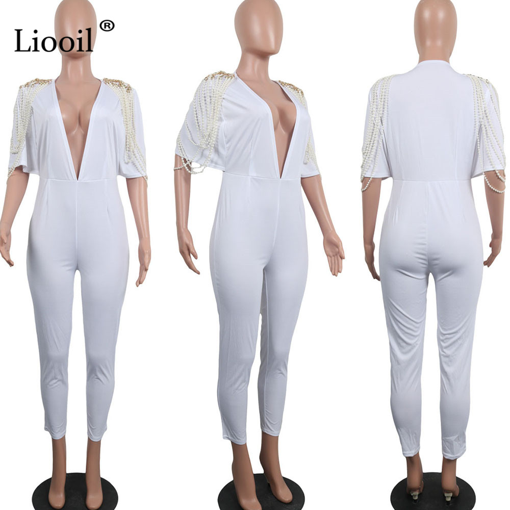 f0a843fc152 Liooil Sexy Club Black White Pearl Rompers Womens Jumpsuit Long Pants  Fashion Short Sleeve V Neck Party Woman Jumpsuits Overalls-in Jumpsuits  from Women s ...