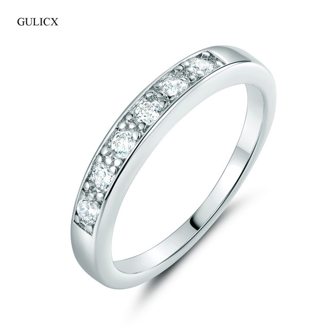 GULICX 2016 Fashion Engagment Ring  White Gold-color Round White Crystal Cubic Zirconia CZ Band Wedding Rings For Women R015