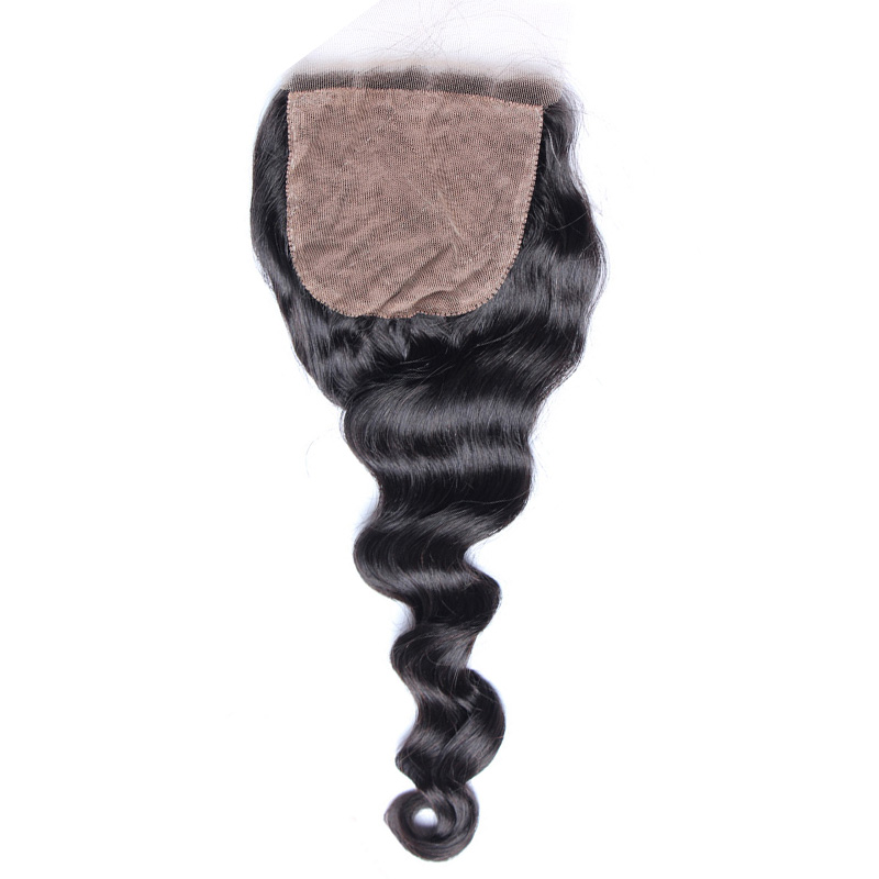 Silk Base Closure Loose Wave 4x4 Size Free Part Brazilian Remy Hair Pre Plucked Natural Hairline With Baby Hair Honey Queen