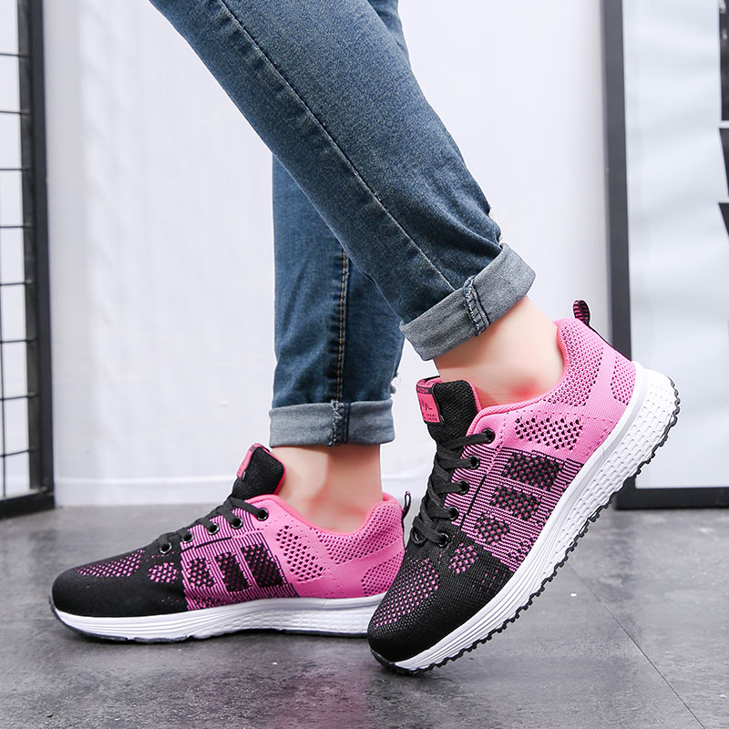 Summer new sports flying wild wild mesh black shoes students flat light breathable running shoes