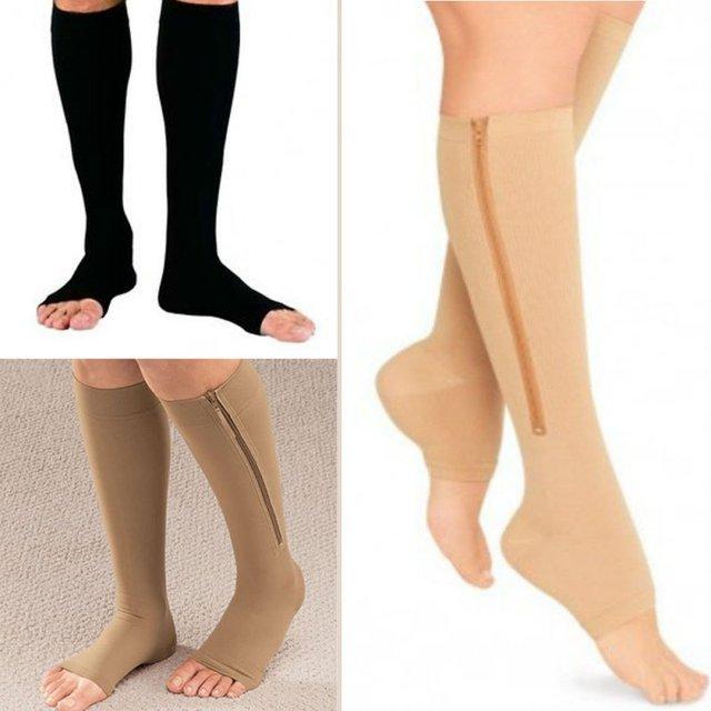Zipper Compression Zip Leg Support Knee Stockings Sox Open Toe Slim Sleeping Beauty Leg Shapper Socks S/M/XL Dropshipping