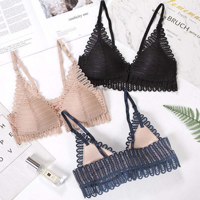 Queenral Sexy Lace Bra Push Up Bralette Bras For Women Front Closure Bra Wire Free Breathable Backless Women Underwear Bra BH 2