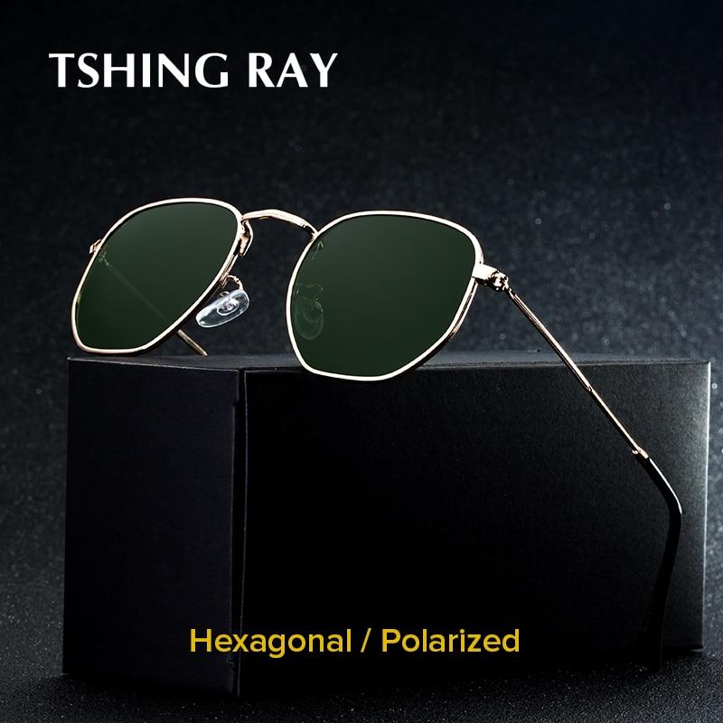 TSHING RAY Men Hexagonal Flat Lenses Aviation Polarized Sunglasses Brand Designer New Retro Women Mirror Driving Sun Glasses
