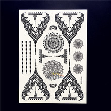 25 Styles Hot Waterproof Black Henna Tattoo Women Body Hand Art Fake Mandala Jewelry Tatoo 21x15cm Temporary Tattoo Stickers