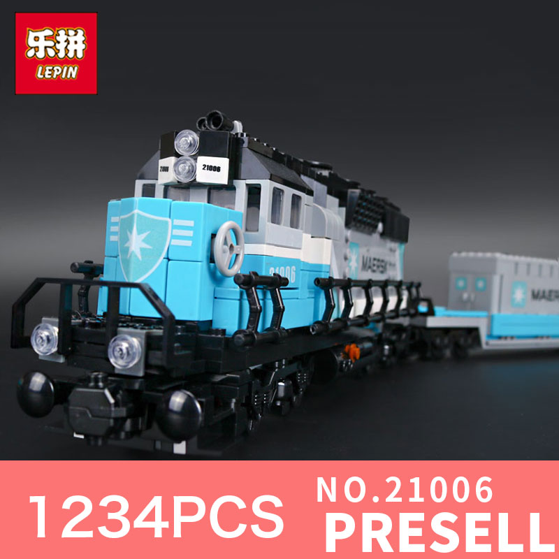1234Pcs Lepin 21006 Genuine Technic Ultimate Series The Maersk Train Set Building Blocks Bricks Educational 10219 Holiday Toy lepin 21006 compatible builder the maersk train 10219 building blocks policeman toys for children