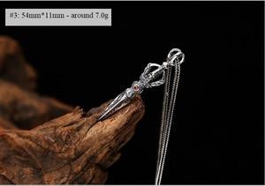 Image 3 - 100% 925 Silver Tibetan Dorje Pendant Necklace Buddhist Vajra Dorje Pendant Necklace 925 Sterling  Good Luck Amulet Necklace