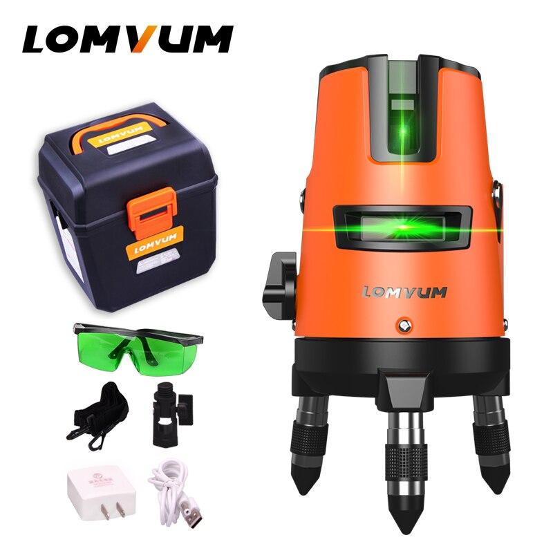 LOMVUM 5 Linee di 6 punti All'aperto Livello Self-Leveling 360 rotante Linea Trasversale Laser Lazer Strumento di Livello slash funzione treppiede livello