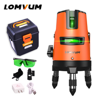LOMVUM 5Lines 6points Laser Level Self Leveling 360 Rotary Horizontal Vertical Cross Green Beam Slash Functional
