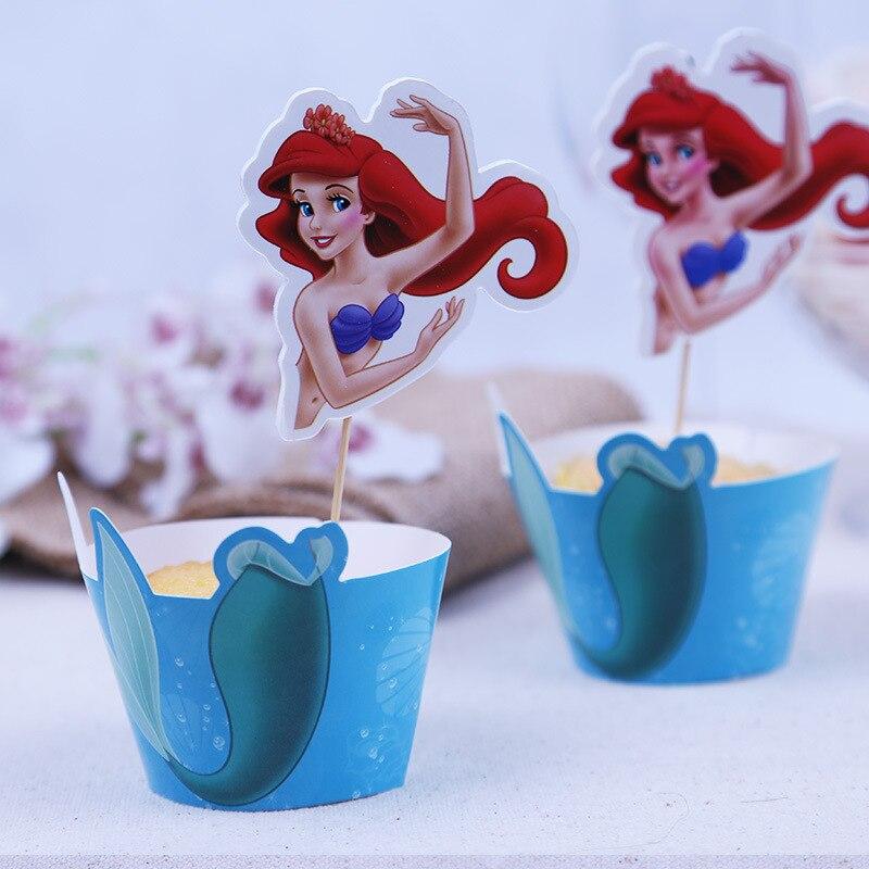 컵케익 포장지 토퍼 추천 아기 샤워 소녀 생일 파티 장식 어린이 공주 공주 작은 인어 파티 용품