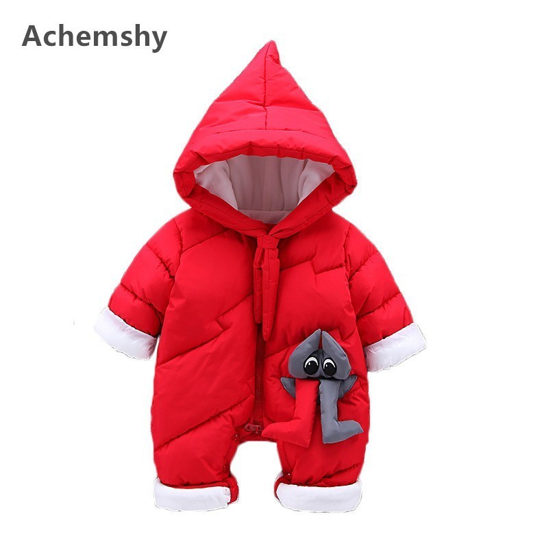 Winter Infant Thickening Cotton-padded Clothes Baby Boys Girls Monster Hooded Romper Outwear Jumpsuit Warm 2 Colors цена 2017