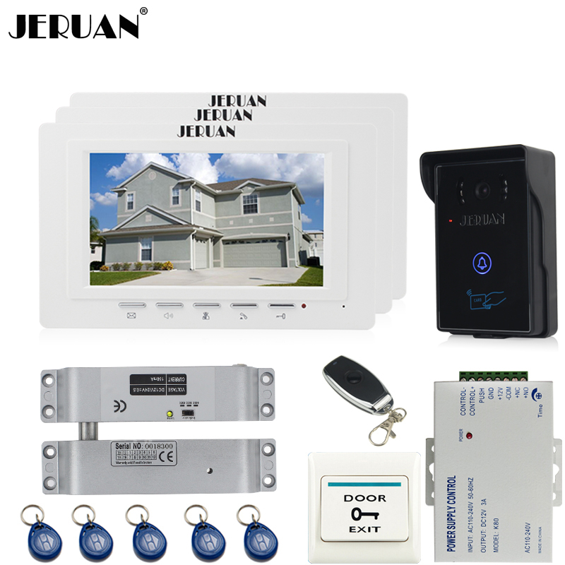 JERUAN three desk brand new 7`` TFT Video Door Phone System 700TVT Touch Camera+Electric Bolt lock+Remote control Unlock saimi skdh145 12 145a 1200v brand new original three phase controlled rectifier bridge module