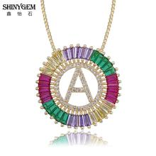ShinyGem Bohemian A-Z Letter Pendant Necklaces Big Round Cubic Zirconia Crystal Necklace Gold Initial For Women