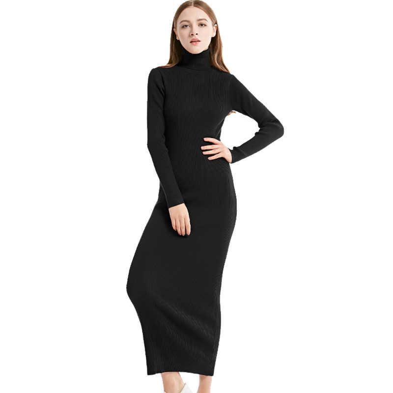 b01412415a ... 2018 New Fashion Women Sexy Party Dress Knit style Long Sleeve  Turtleneck Winter Maxi Dress Slim ...