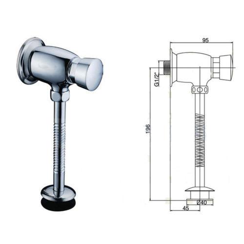 Toilet Urinal Flush Valve Brass Button Type Manual Delay Automatic Shutoff Valve 11 190