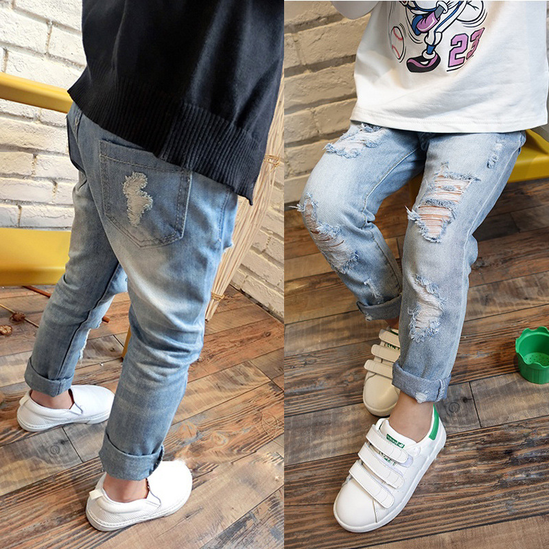 2017 Baby Girls Clothes Long Hole Jeans Pants Autumn Fashion Kids Trousers Ripped Boy Girl Denim For 2 7T In From Mother