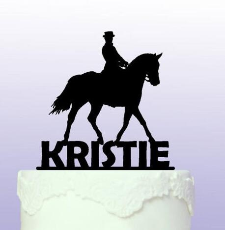 Personalised Name Dressage Horse Cowboy Acrylic Birthday Cake Toppers Wedding Bridal Baby Shower Baptism Party Decorations