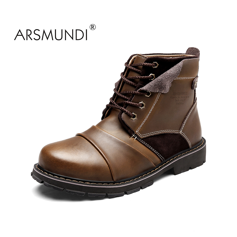 ARSMUNDI British Style Vintage Men Boots Crazy Genuine Leather Martin Men Autumn Boots Water Proof Work Hiking Winter Ankle Boot new 2016 designer girl autumn
