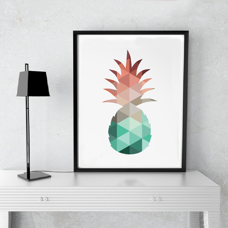 pineapple print canvas art poster wall pictures canvas. Black Bedroom Furniture Sets. Home Design Ideas