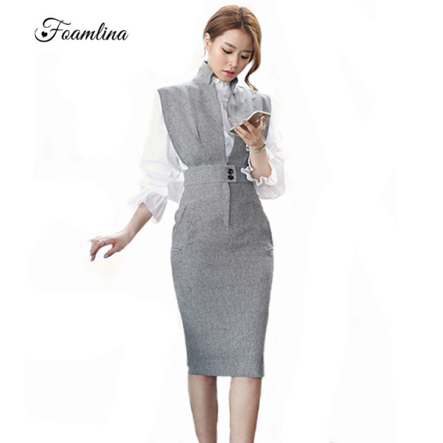 f5d8f0c940d45 US $14.43 26% OFF|Foamlina Elegant Women Bodycon Dress Vestidos Deep V neck  Sleeveless Back Slit Office Ladies Work Party Dress Midi Vintage Dress-in  ...