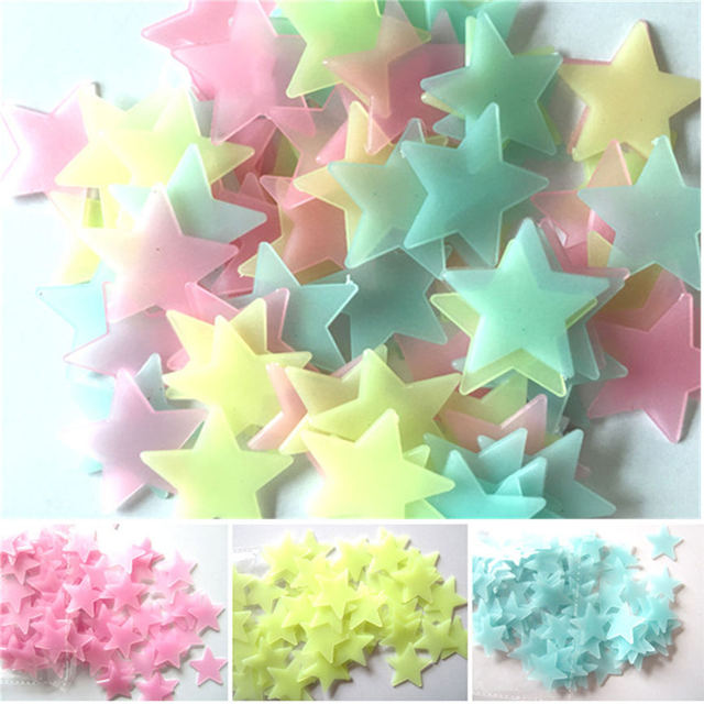 100pcs HOT! Three-Color Mixing Stars Glow In The Dark Luminous Fluorescent Wall Stickers Living Home Decor For Kids Rooms 1016