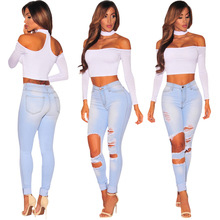 2019 Jeans of Women High Waist Skinny Pencil Denim Pants Ripped Hole Elastic Stretch Sexy Casual Plus Size