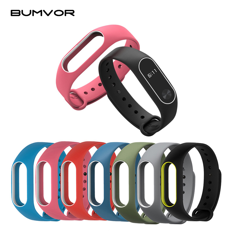 Colorful Women Men Fitness Waterproof Cover Silicone Strap Two-color Wrist Band Strap For Xiaomi Mi Band 2  Smart Bracelet