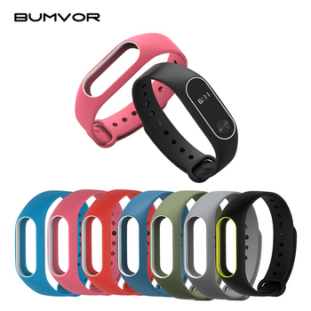 Colorful Women Men Fitness Waterproof Cover Silicone strap two-color Wrist Band Strap for Xiaomi Mi 2  Smart Bracelet - discount item  41% OFF Watches Accessories