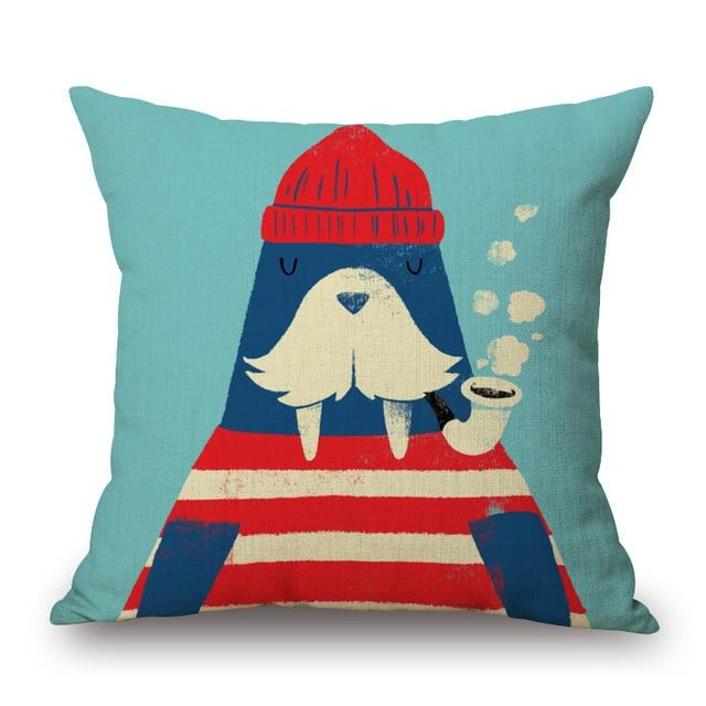Cartoon Style Sailor Print Cushion Cover 4