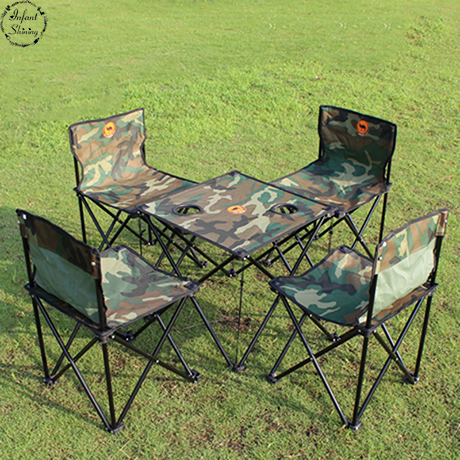 Outdoor Furniture Portable Folding Tables And Chairs Five Piece Camouflage Picnic  Table Chair Fishing Bag