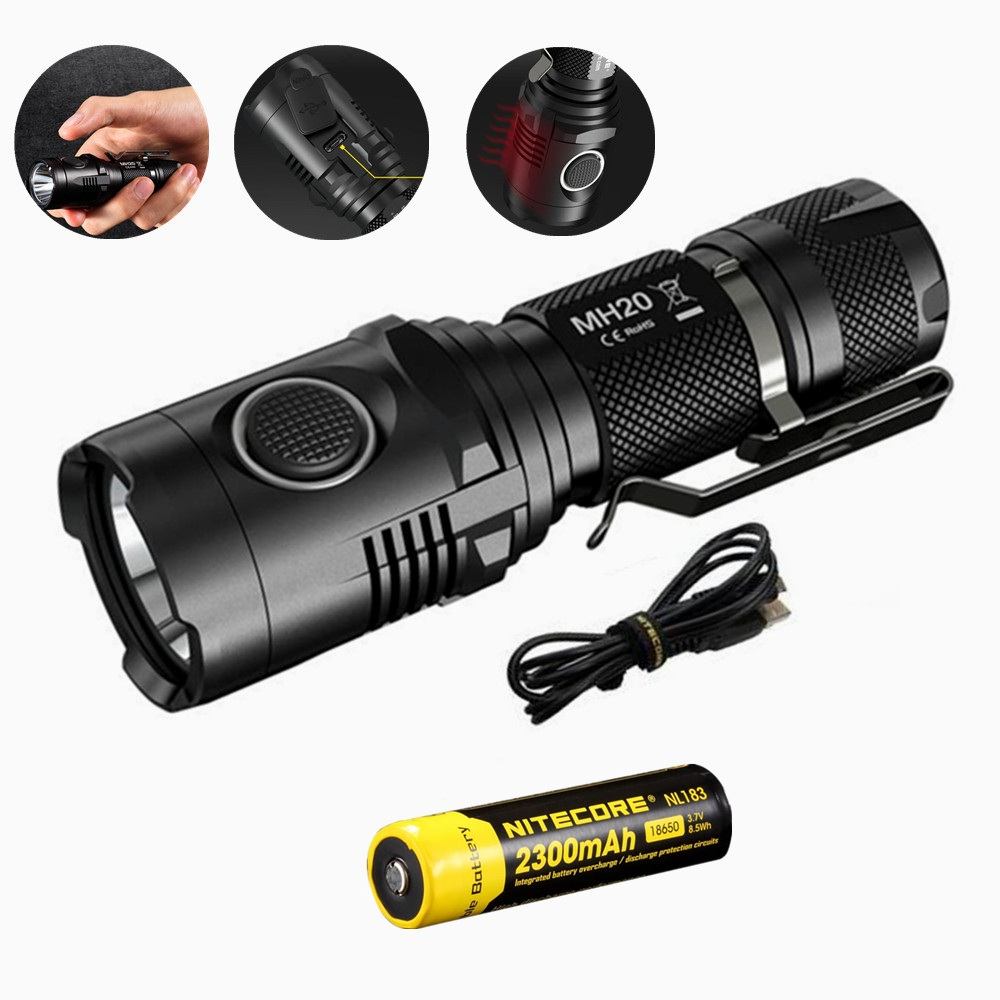 Nitecore MH20 Portable Flashlight with Nitecore Nl183 18650 2300mah battery XM-L2 1000 Lumens USB Charging Camping Light africa style ladies shoe with matching bag set italy woman hiigh heels shoes and bag set for wedding free shipping pme1 23